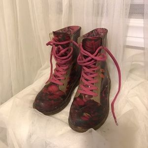Jelly Pink Floral Combat boot Sz 13/1 Girls